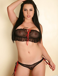 Perfect Alluring Vixen Aura teases in a skimpy semi sheer top and matching panties
